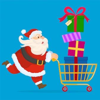 Santa claus draagt geschenken in een winkelmandje