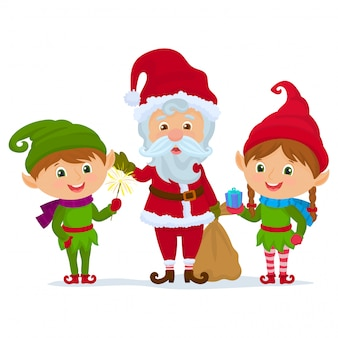 Santa claus en elf helpers houden presenteert