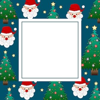 Santa claus en kerstboom op indigo blue-bannerkaart