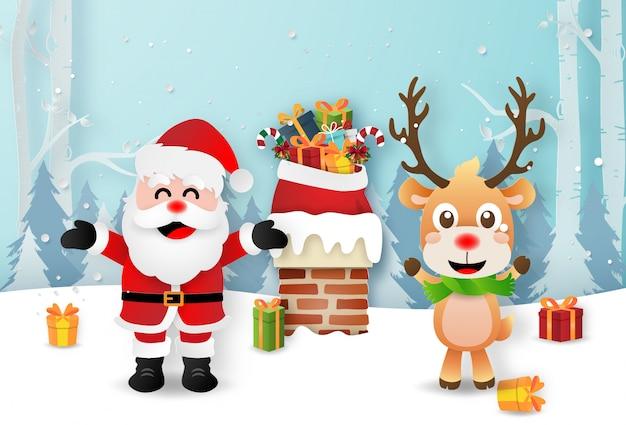 Santa claus en rendieren op de daken om geschenken te geven via de schoorsteen