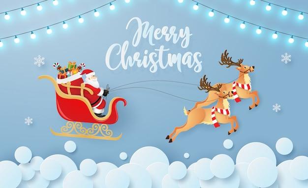 Santa claus en rendieren vliegen in de lucht