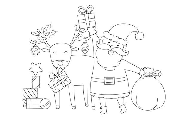 Santa claus en rudolph de rendiervector met een rode neus