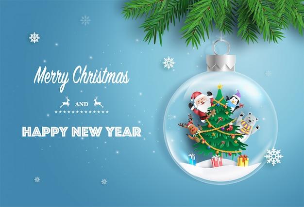 Santa claus en vrienden met kerstboom in xmas bal.