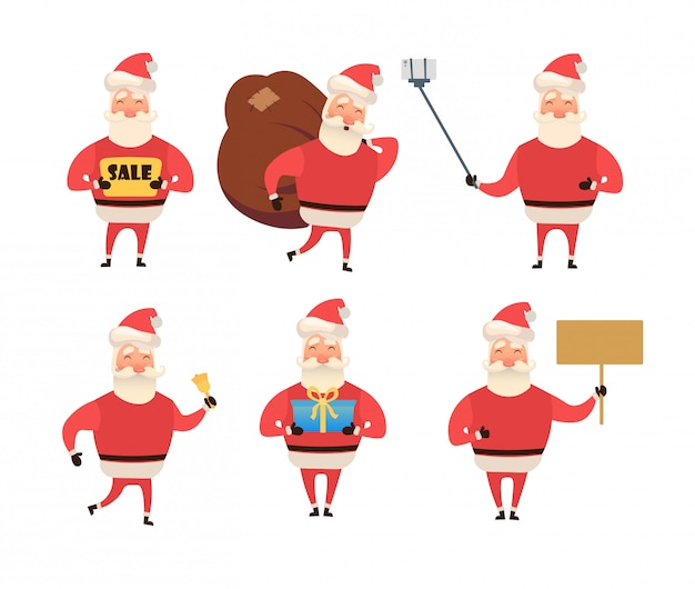 Santa claus grappige tekenset