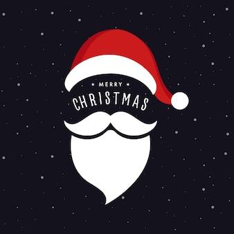 Santa claus-hoed en baard de sneeuwachtergrond van de kerstmisgroet