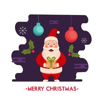 Santa claus holding gift box met holly berries en hangende kerstballen op paarse en witte achtergrond voor merry christmas celebration.