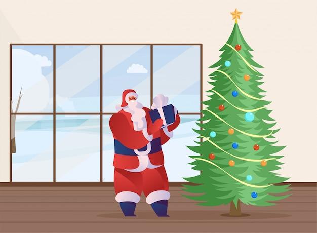 Santa claus huidige platte vectorillustratie