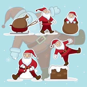 Santa claus illustratie vector versierd met sneeuwval achtergrond.