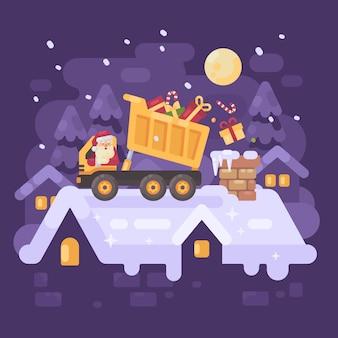 Santa claus in een gele vrachtwagen