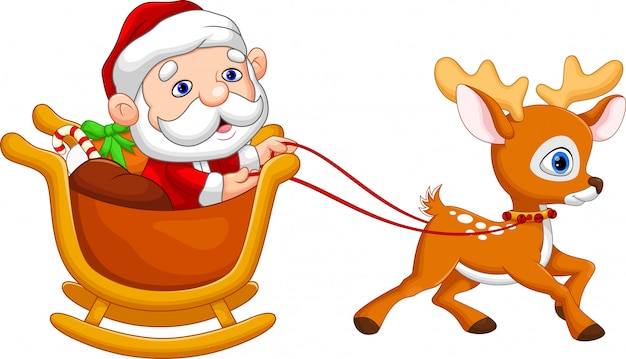 Santa claus in een slee