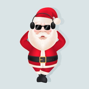 Santa claus in hoofdtelefoons en zonnebril