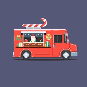 Santa claus in kerst vrachtwagen