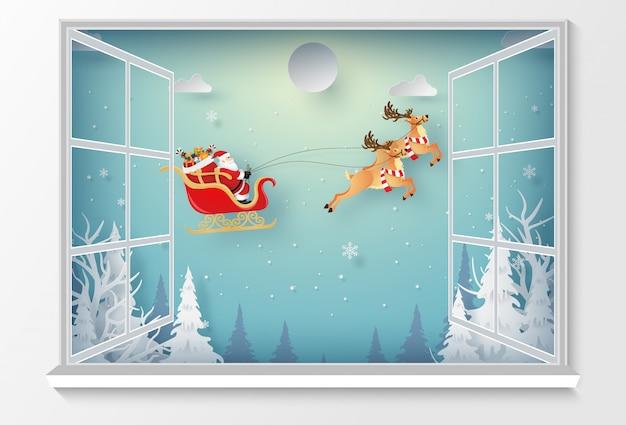Santa claus in kerstdag buiten het raam