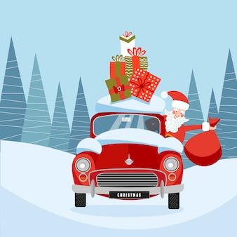 Santa claus in retro auto met geschenkdozen op dak