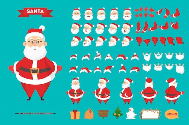 Santa claus in rode kleding tekenset voor de animatie met verschillende standpunten, kapsel, emotie, pose en gebaar. gelukkig oude man met witte baard. illustratie in cartoon-stijl
