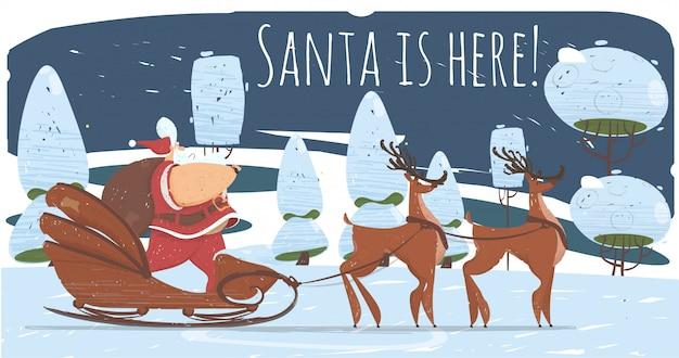 Santa claus in slee rijden 's nachts fores tot kid