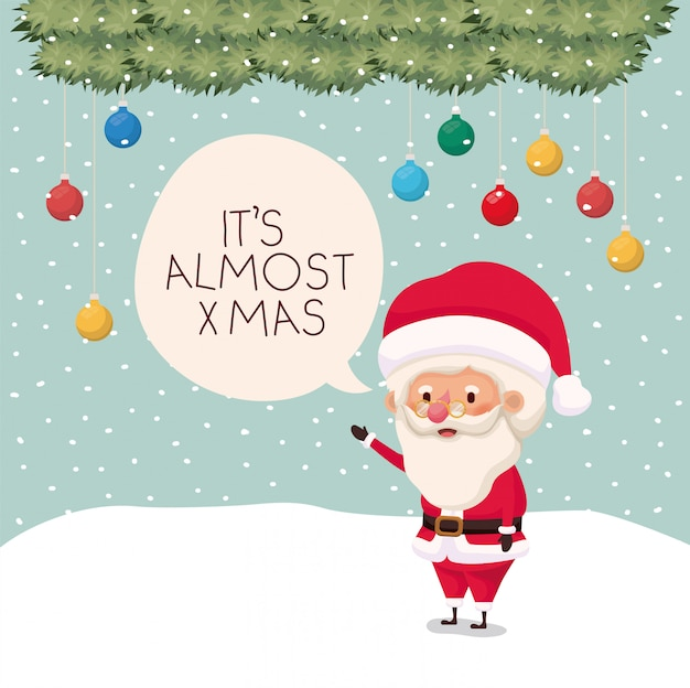 Santa claus in snowscape met tekstballon
