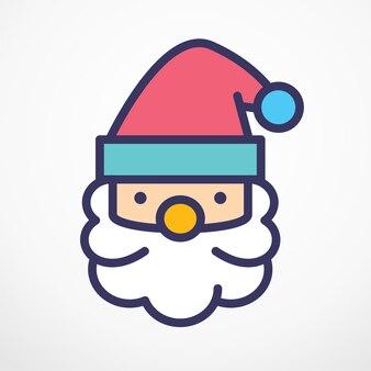 Santa claus kerstmis platte lijn vectorillustratie.
