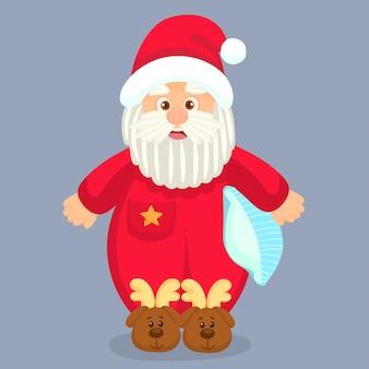 Santa claus klaar om te gaan slapen