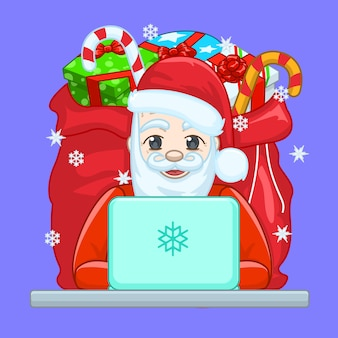 Santa claus met behulp van computer