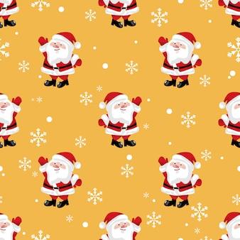 Santa claus met sneeuwvlokken naadloos patroon.