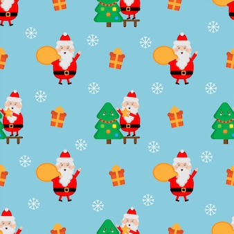 Santa claus naadloze patroon. kerst patroon.