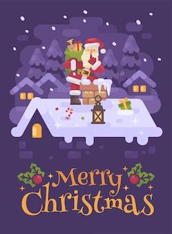 Santa claus op dak dat in de schoorsteen beklimt