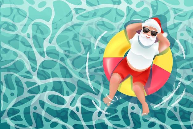 Santa claus op het strand, de zomerkerstmis
