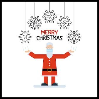 Santa claus oude man karakter in het rood met zijn handen omhoog