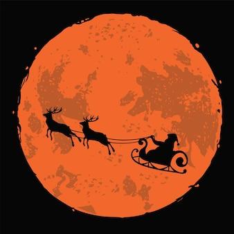 Santa claus rendier herten kerst illustratie op volle maan nacht achtergrond vector