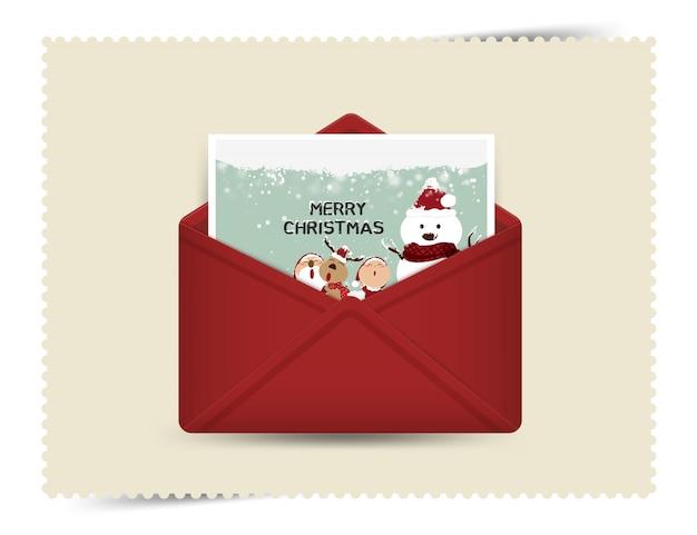 Santa claus, rendier, met geschenkdoos, groeten achtergrond vrolijk kerstfeest