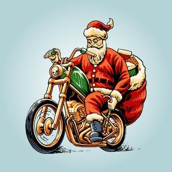 Santa claus riding chopper illustratie