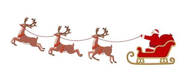 Santa claus rijden in een slee getrokken door rendieren. kerst vectorillustratie.