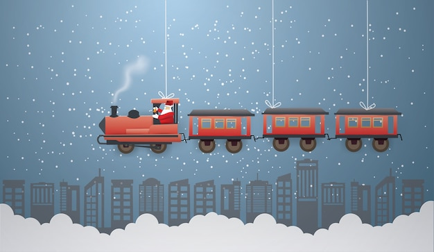 Santa claus rijdt in de trein
