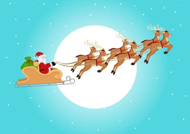 Santa claus rijdt op zijn slee