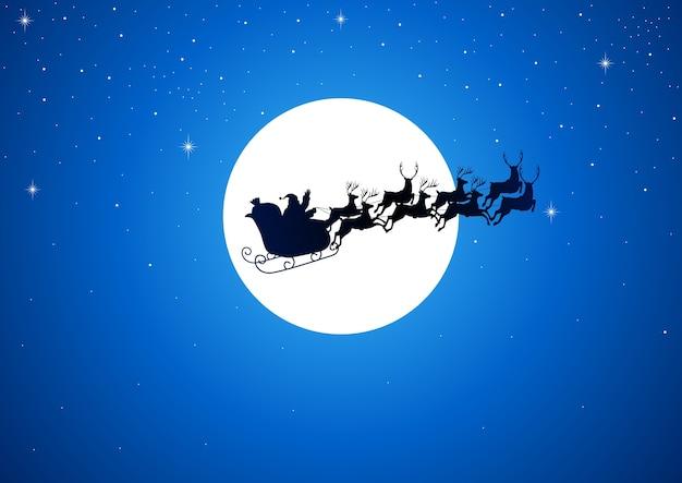 Santa claus rijdt zijn slee op fullmoon