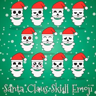 Santa claus schedel emoji met botten
