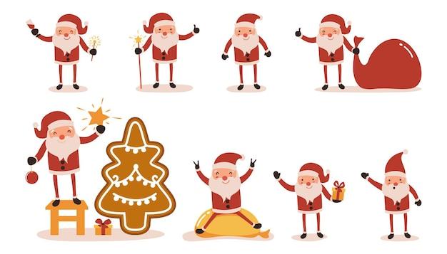 Santa claus set geïsoleerd op wit