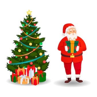 Santa claus set met kerstboom. kerstkaart.