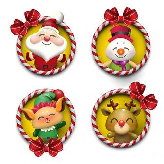 Santa claus, snowman, elf en rudolf achtergrondontwerp.