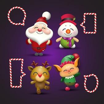 Santa claus, snowman, rudolf en elf.