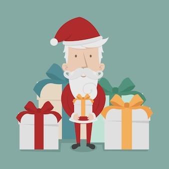 Santa claus staande geschenkdozen
