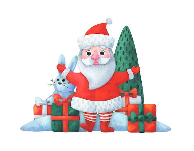 Santa claus staat met geschenken. kerst samenstelling
