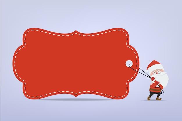 Santa claus stripfiguur trekken een rode grote tag