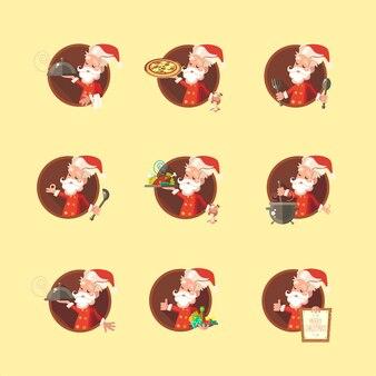 Santa claus-teken op geel wordt geplaatst die