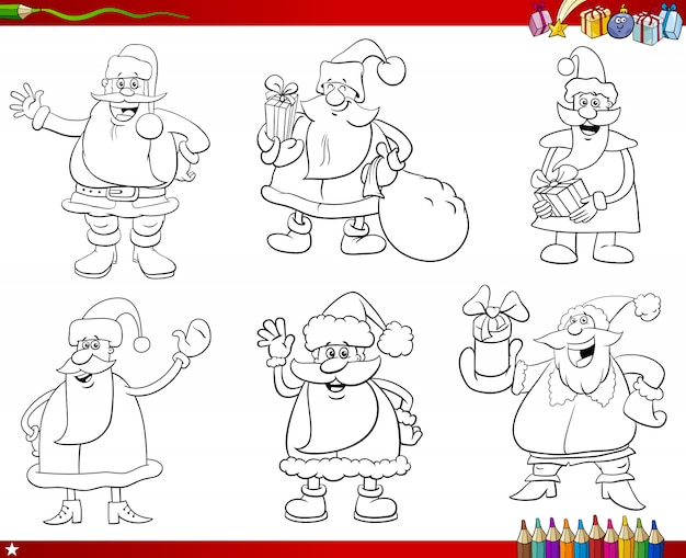 Santa claus tekens instellen kleurboekpagina