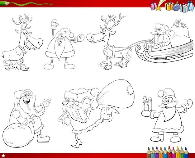 Santa claus-tekens instellen kleurboekpagina