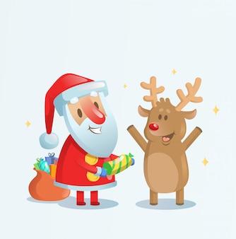 Santa claus viert met zijn rendiervriend. cartoon kerstkaart. illustratie. op blauwe achtergrond.