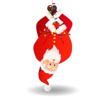 Santa claus voor kerstmis en nieuwjaar posters, cadeaukaartjes en stickers.