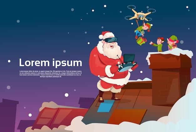 Santa claus wear virtual reality glasses elfs on roof